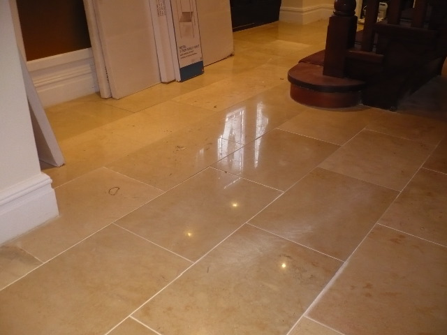 Polished Marble Floor after cleaning and burnishing