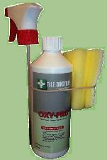 Spray on cleaning solution specially formulated for the cleaning of shower tiles
