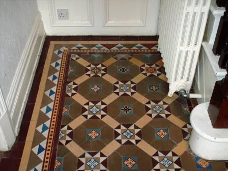 Victorian tiled floor after cleaning and sealing