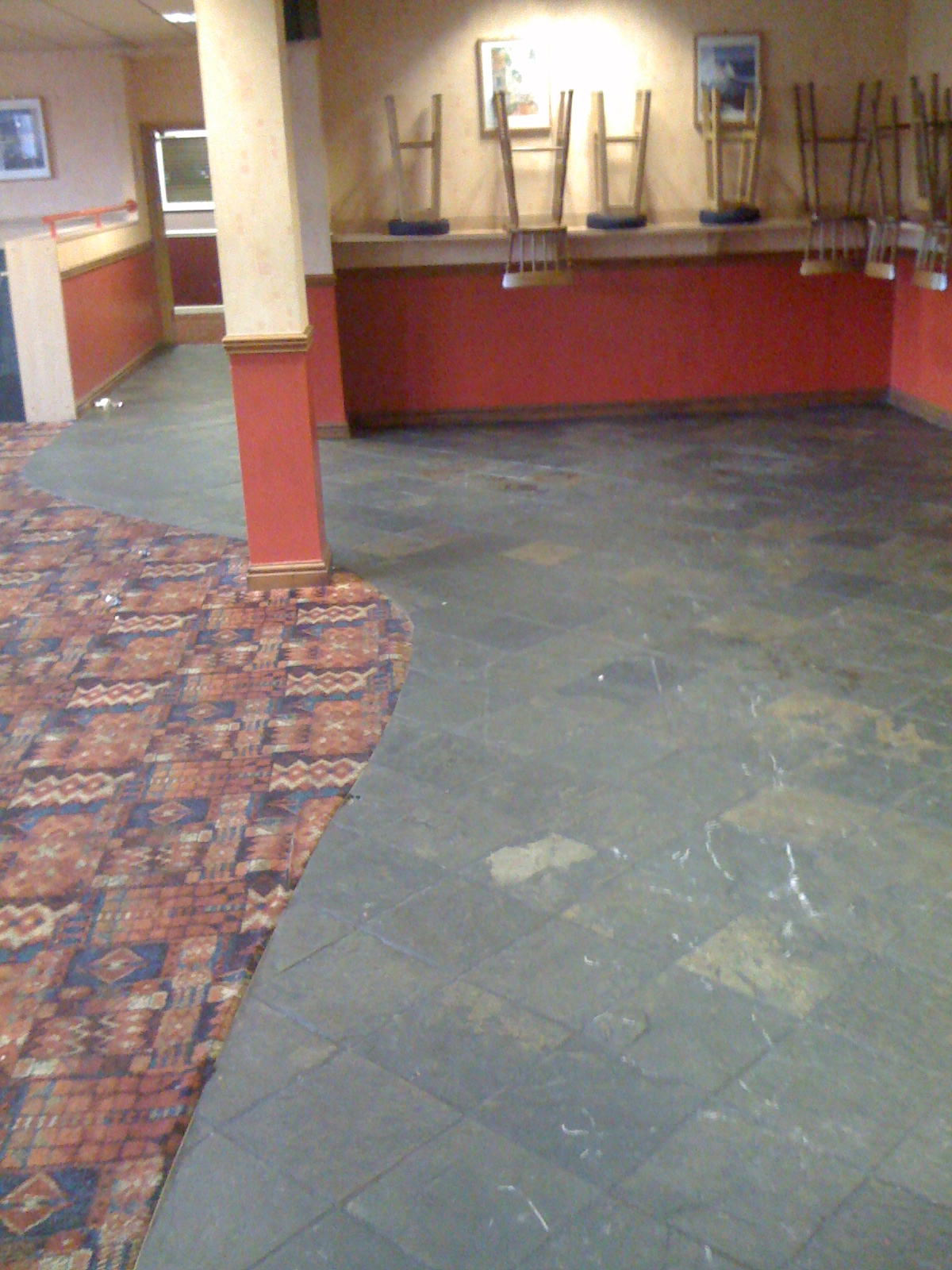 Slate Floor in a workings mens club in desperate need of a clean and seal